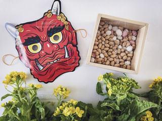 菜の花,豆,鬼,お面,節分,置き画,2月