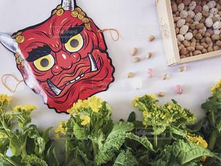 菜の花,豆,鬼,お面,節分,置き画,豆まき,2月