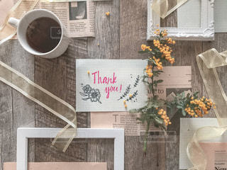 thank youの手書きメッセージと紅茶の写真・画像素材[1928060]