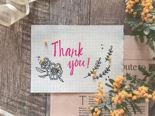 thank youの手書きメッセージとボタニカルイラストの写真・画像素材[1929896]