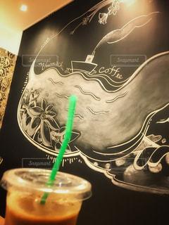 海,船,岡山県,チョークアート,玉野市,ブックカフェ,黒板アート,オシャンティ,うのまち珈琲店,うのまちカフェ,カフェインレスアイスコーヒー