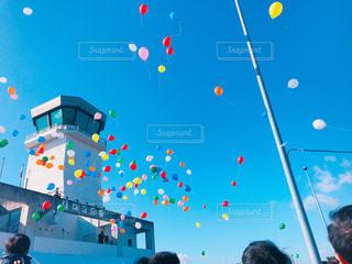 空,カラフル,雲,青空,晴天,風船,見上げる,アクロバット,管制塔,開会式,岡南飛行場