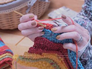 冬ネイルで編み物の写真・画像素材[1754622]