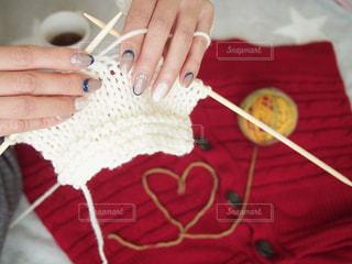 冬ネイルはニットネイルで決まり。編み物と共にの写真・画像素材[1757922]