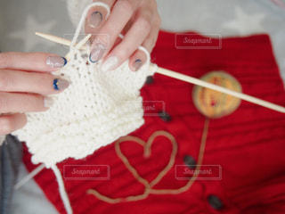 ニットネイルと編み物で冬におしゃれしようの写真・画像素材[1757959]
