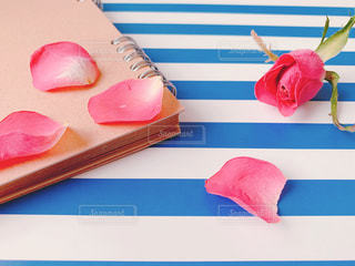 薔薇のドライフラワーとノートの写真・画像素材[2038079]