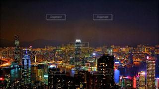 海,空,建物,夜景,屋外,海外,晴れ,ネオン,アジア,景色,光,都会,外,旅行,旅,イベント,香港,明るい,海外旅行,世界,ビクトリアピーク,世界三大夜景,香港夜景,東アジア,都市の景観