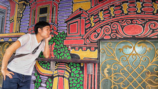 建物,夜景,屋外,海外,晴れ,アート,アジア,景色,光,外,壁,旅行,旅,香港,明るい,海外旅行,世界,壁画,ソーホー,SOHO