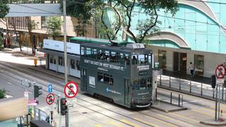 建物,海外,電車,晴れ,アジア,景色,観光,都会,外,旅行,旅,香港,明るい,海外旅行,世界,トラム,高級感