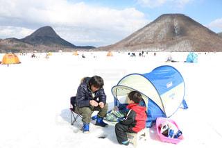 キッズ,雪,氷,子供,背景,二人,ワカサギ釣り