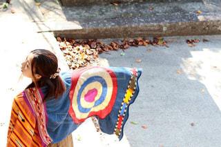 女性,ファッション,自然,風景,秋,神社,マフラー