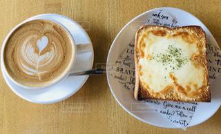 カフェ,コーヒー,朝食,パン,トースト,チーズ,昼食,カフェラテ,ラテアート,ナチュラル,デート