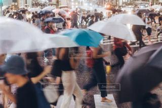 大勢の人が傘を持って通りを歩いて - No.850620