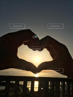 恋人,空,太陽,夕暮れ,シルエット,光
