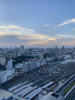 空,建物,屋外,東京,雲,夕暮れ,都市,タワー,都会,高層ビル,品川,スカイライン