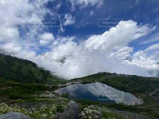 自然,風景,空,屋外,湖,雲,水面,山,登山,草,丘,高原,長野,国内旅行,白馬,日中,八方