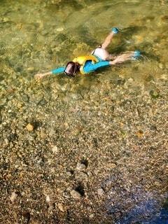 川でシュノーケリングの写真・画像素材[3695589]