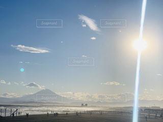 空,富士山,太陽,光