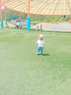 公園,夏,屋外,青空,後ろ姿,帽子,走る,人物,背中,麦わら帽子,人,後姿,芝桜,男の子,1歳,後ろ