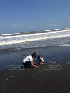 女性,子ども,家族,2人,自然,風景,海