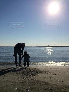 男性,子ども,家族,2人,自然,風景,海