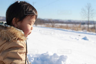 雪の中で立っている少年の写真・画像素材[1737658]