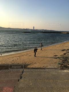 海岸,冬の海,夕方の海,2ショット