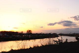 自然,空,夕日,荒川,岩槻
