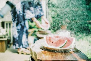 水浴びするスイカの写真・画像素材[3500657]