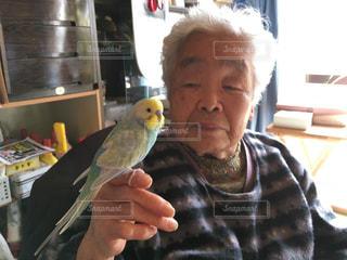 祖母とセキセイインコの写真・画像素材[742680]