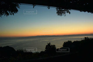 背景の夕日とツリー - No.981085