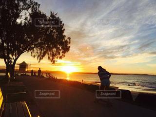 海,空,夕日,絶景,ビーチ,海岸,オーストラリア,サンセット,ゴールドコースト