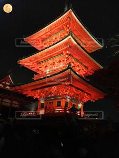 秋,清水寺,京都,スーパームーン