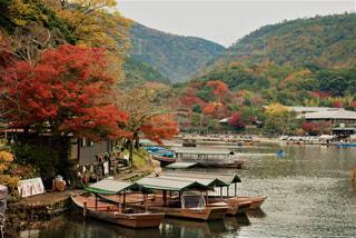 背景の山と水の体中の小型船の写真・画像素材[765286]