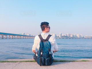 後ろ姿,川,背中,天,韓国,ソウル