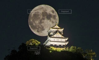 背岐阜城と月の写真・画像素材[3737583]