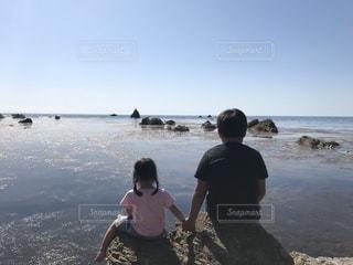 海,景色,女の子,旅行,男の子,兄妹,日本海,景観