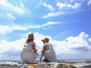 風景,海,空,夏,沖縄,景色,女の子,友達,ツーショット
