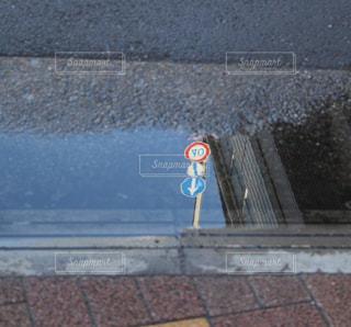 水たまり,標識,道,雨上がり,梅雨,天気