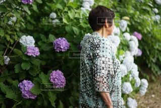 紫色の花を身に着けている人の写真・画像素材[1261043]