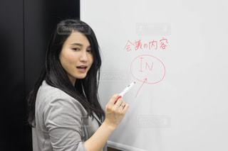 カメラにポーズ記号を保持している女性の写真・画像素材[1680055]