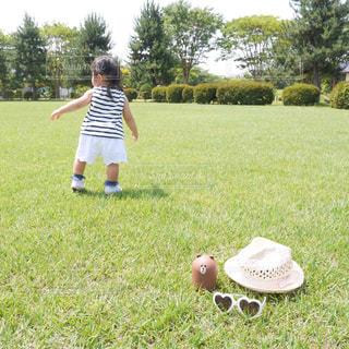草の中に立っている少女の写真・画像素材[1327223]
