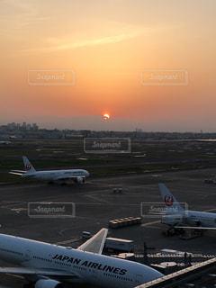 空,夕日,飛行機,空港