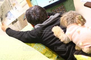 動物のぬいぐるみを持っている人の写真・画像素材[986783]