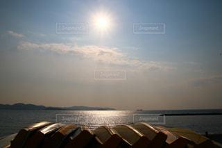 海,空,太陽,ボート,夕暮れ,海岸,光,光芒,千葉,房総半島