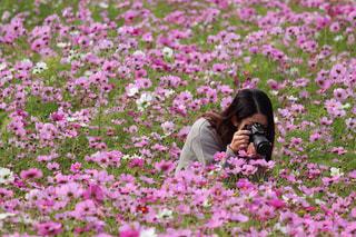 花を撮影する人の写真・画像素材[1852278]