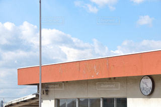空,雲,青空,時計,校舎,学校,オレンジ色,幼稚園,壁掛け時計