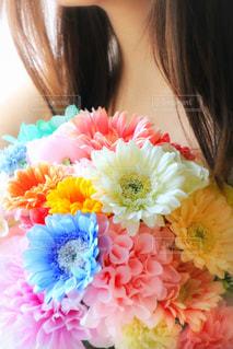 ピンクの花の女性 - No.739166