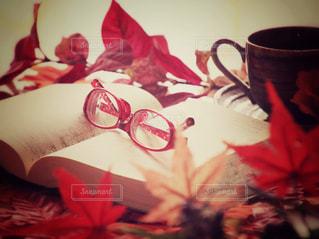 赤い花の上のコーヒー カップの写真・画像素材[767311]