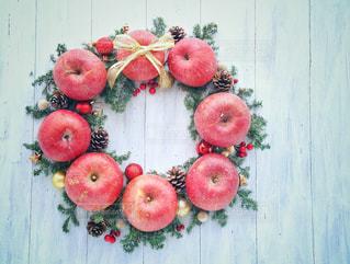 赤,フルーツ,果物,クリスマス,りんご,林檎,リース,クリスマスリース,リンゴ